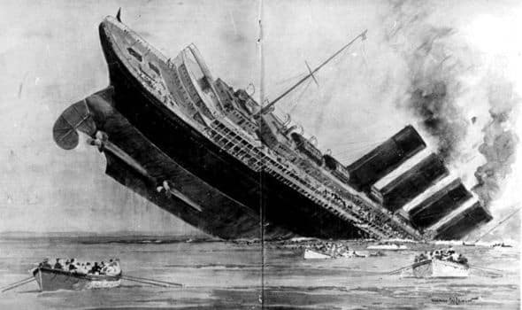 Drawing of RMS Lusitania sinking