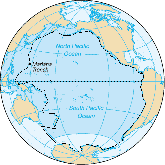 Pacific ocean on a globe