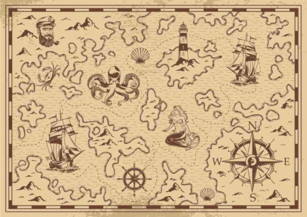 A fantasy map showing enchanted waters
