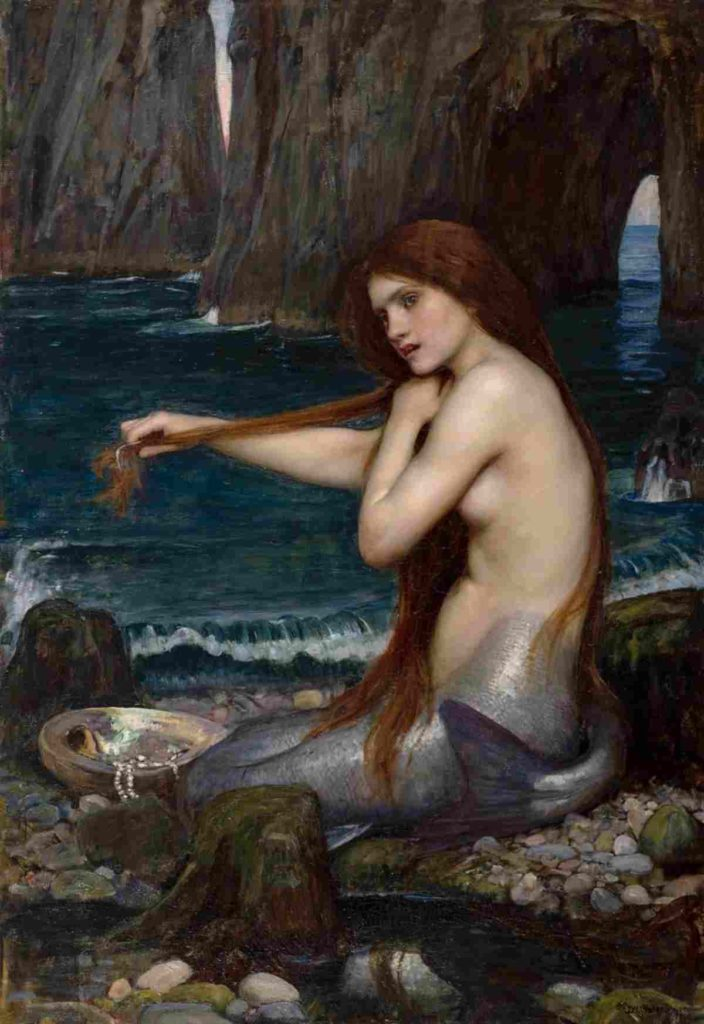 painting of a mermaid that shows her combing her hair and singing while waiting for sailors to come by