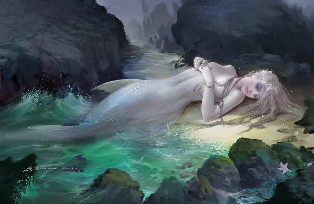 Digital art of a mermaid washed up on shore