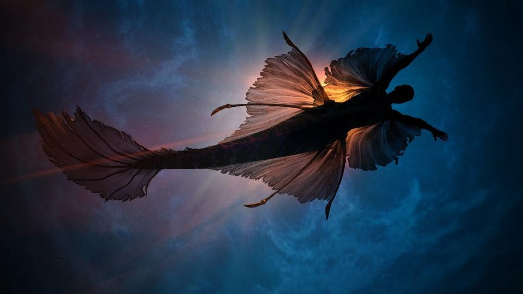 A mermaid with fins swimming towards the surface of the water