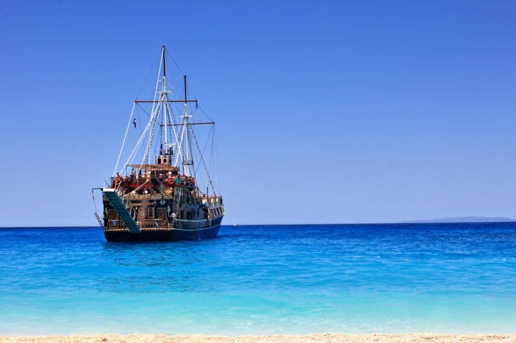 A classic pirate ship, like the ones that feature in Pirates of the Caribbean