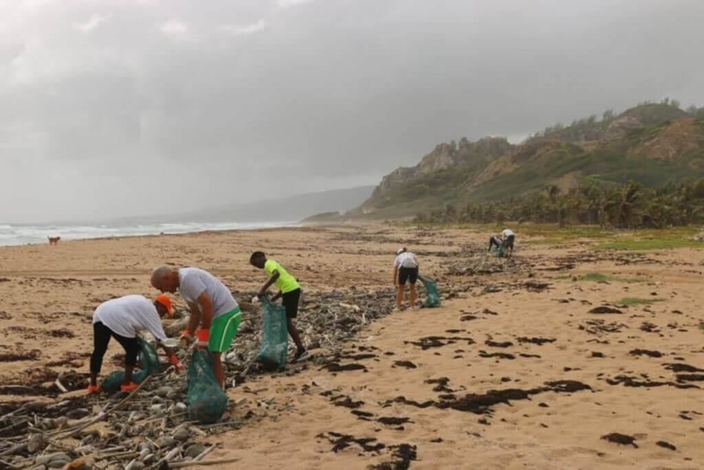 People picking up trash on beach